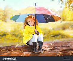 cute little child colorful umbrella stock photo 316822322