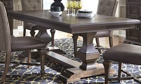 lucca brown double pedestal dining table from liberty coleman