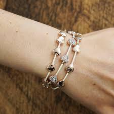 heart leather bracelet images Equilibrium rose gold multi hearts leather bracelet temptation gifts jpg