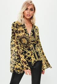 scarf blouse black baroque scarf print drape front blouse missguided