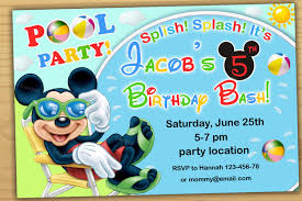 Invitation Card For Pool Party Mickey Mouse Pool Party Invitation Mickey Mouse Swim Party