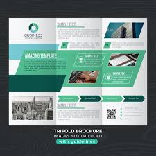 green tones abstract business trifold brochure template vector