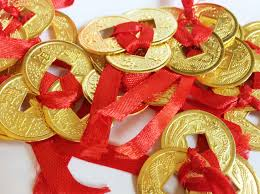3 tie chinese coins bright gold the feng shui boutique by red lotus