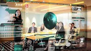 Interactive Meeting Table Boardroom Team Meeting With Interactive Touch Screen Overlay