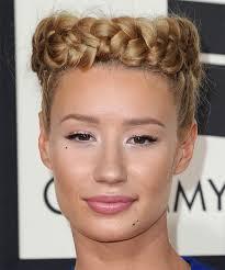 boy wears his hair in an updo iggy azalea long straight formal braided updo hairstyle dark blonde