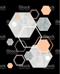 Home Design Stock Images by Black Background With Marble Rose Gold Hexagons Geometric Print
