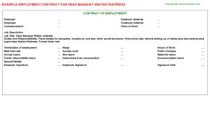 head banquet waiter waitress employment contract
