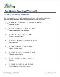 spelling worksheets for grade 3 worksheets