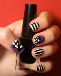 how to beetlejuice inspired nail art for halloween flare
