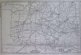 mileage map 1927 antique oklahoma map poster print mileage map of oklahoma