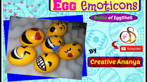 decorated egg shells egg emoticons easter egg decorations reuse of egg shells kids