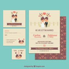 cute wedding invitation template vector free download