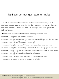 Sample Resume For Manager by Top8tourismmanagerresumesamples 150514063206 Lva1 App6892 Thumbnail 4 Jpg Cb U003d1431585167
