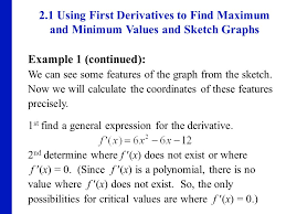 using first derivatives to find maximum and minimum values and