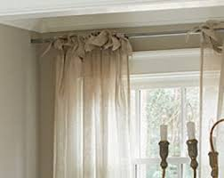 Tie Top Curtains White Tie Top Curtain Pom At Home Tie Top Linen Voile Curtain Panel