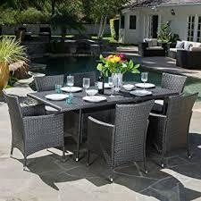 7 Pc Patio Dining Set Amazon Com Macalla Grey Pe Wicker 7 Piece Outdoor Dining Set