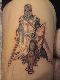 templar knight tattoo on thigh tattoo ideas