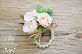Wedding Wrist Corsage Champagne Rose Corsage Rustic Vintage Wrist Corsage Pearl Wrist