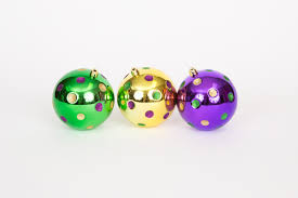 mardi gras ornaments bx of 3 assorted mardi gras ornaments with dots the mardi gras