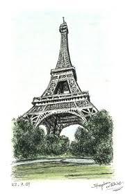 drawn eiffel tower new york pencil and in color drawn eiffel