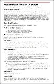 Sample Resume Of Mechanical Engineer by Mechanical Technician Cv Sample Myperfectcv