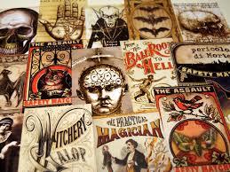 15 pcs macabre labels reproduction vintage labels