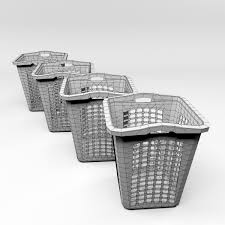 White Laundry Hampers by 3d Model Laundry Basket Cgtrader