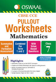 oswaal cbse cce pullout worksheets mathematics for class 7 old