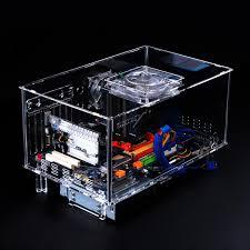 boitier bureau qdiy pc d777xl e atx personnalisé acrylique transparent ordinateur