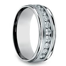 8mm ring channel diamond men s wedding ring in palladium 8mm