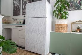 easy remove wallpaper for apartments how to give a refrigerator a makeover with wallpaper how tos diy