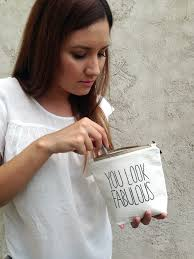 personalized fun makeup pouch white natural cosmetic bag with