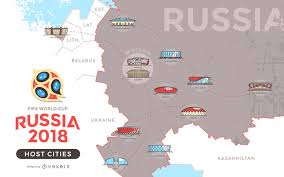 cities map russia 2018 host cities map vector