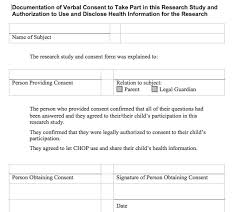 waiver of documentation of consent chop institutional review board