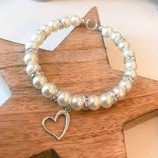 pearl style bracelet images Classic heart charm pearl style bracelet cute as a button jpg