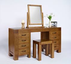 varnished wooden vanity dressing table with rectangular mirror and