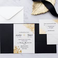invitation pockets black and gold glitter pocket wedding invitations ewpi199 as low