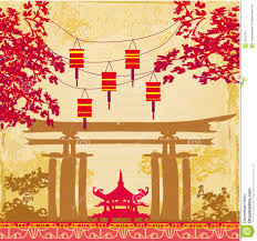 lunar new year cards new year card traditional lanterns and asian buildings