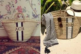 monogrammed baskets the find the best monogrammed straw tote the find lonny