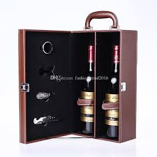 wine bottle gift box pu leather wine boxes with bottle opener set 2 bottles gift box high