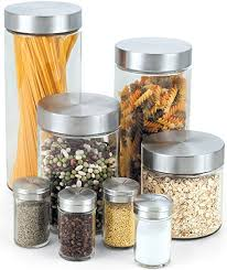 glass canister sets for kitchen cook n home 8 glass canister and spice jar set