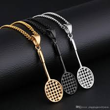 pendant necklace chain length images Wholesale cute sports badminton racket pendant silver gold black jpg