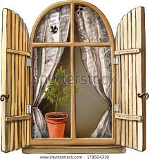 Old Curtains Vector Illustration Old Window Wooden Frame Stock Vector 178504319