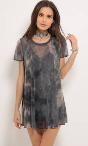 day dresses u003e tie dye shift dress in dark grey