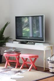 Ikea Laptop Table Hack Turn An Ikea Desk Into A Glamorous Tv Console Ikea Console Table
