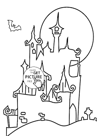 castle coloring page for kids printable free happy halloween