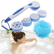 Long Handle Bathroom Cleaning Brush 5 In1 Cleaning Bath Spin Spa Massage Electric Shower Brush System