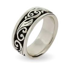 engraved wedding rings sterling silver spinner ring with scroll design s addiction