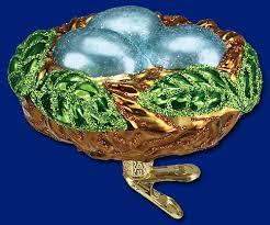 world ornaments bird nest glass ornament with clip 18062