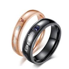 couple promise rings images Her king his queen couple promise rings black rose gold wedding jpg